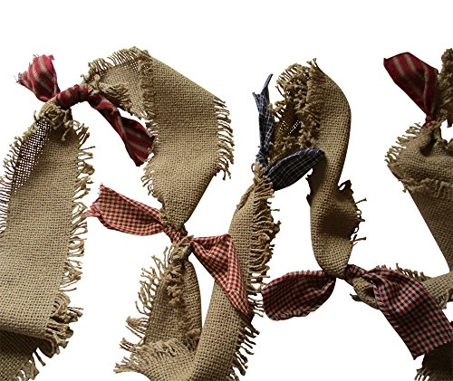 s Americana Burlap Fringed Garland Natural Burlap with Homespun Bows ()