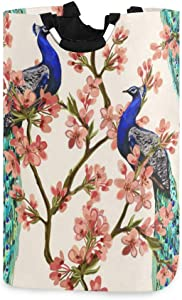 YYZZH Peacock Couple Tropical Japanese Flower Cherry Blossom Tree Spring Branch Large Laundry Bag Basket Shopping Bag Collapsible Polyester Laundry Hamper Foldable Clothes Bag Folding Washing Bin