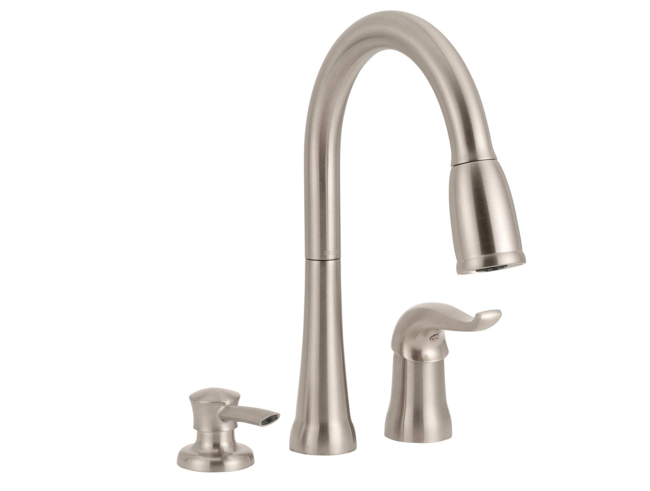 Delta Faucet Kate Single-Handle Kitchen Sink Faucet with Pull Down Sprayer, Soap Dispenser and Magnetic Docking Spray Head, Stainless 16970-SSSD-DST by DELTA FAUCET