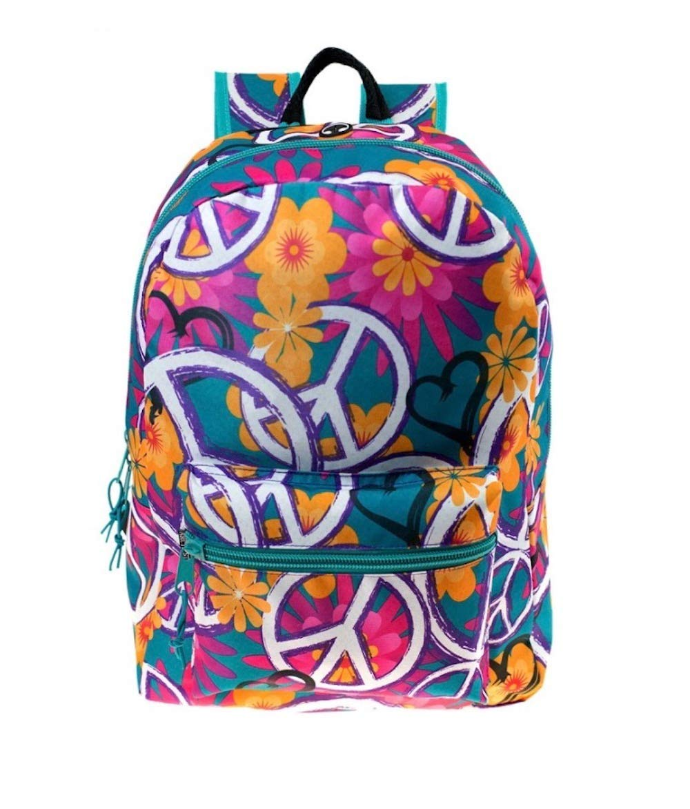 17'' Large Padded Backpack Bright Colors Peace Love Flowers