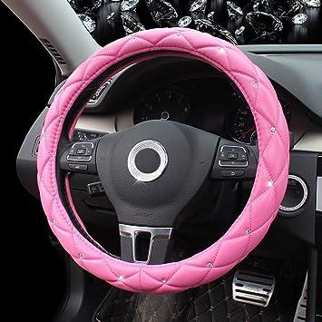 Universal Auto Lenkradhülle Bauzeit Pu Leder Lenkradbezug Mit Diamant 15 Zoll 37 38cm Anti Rutsch Lenkradabdeckung Atmungsaktiv Lenkradschutz Lenkradschoner Für Damen Mädchen Pink Auto