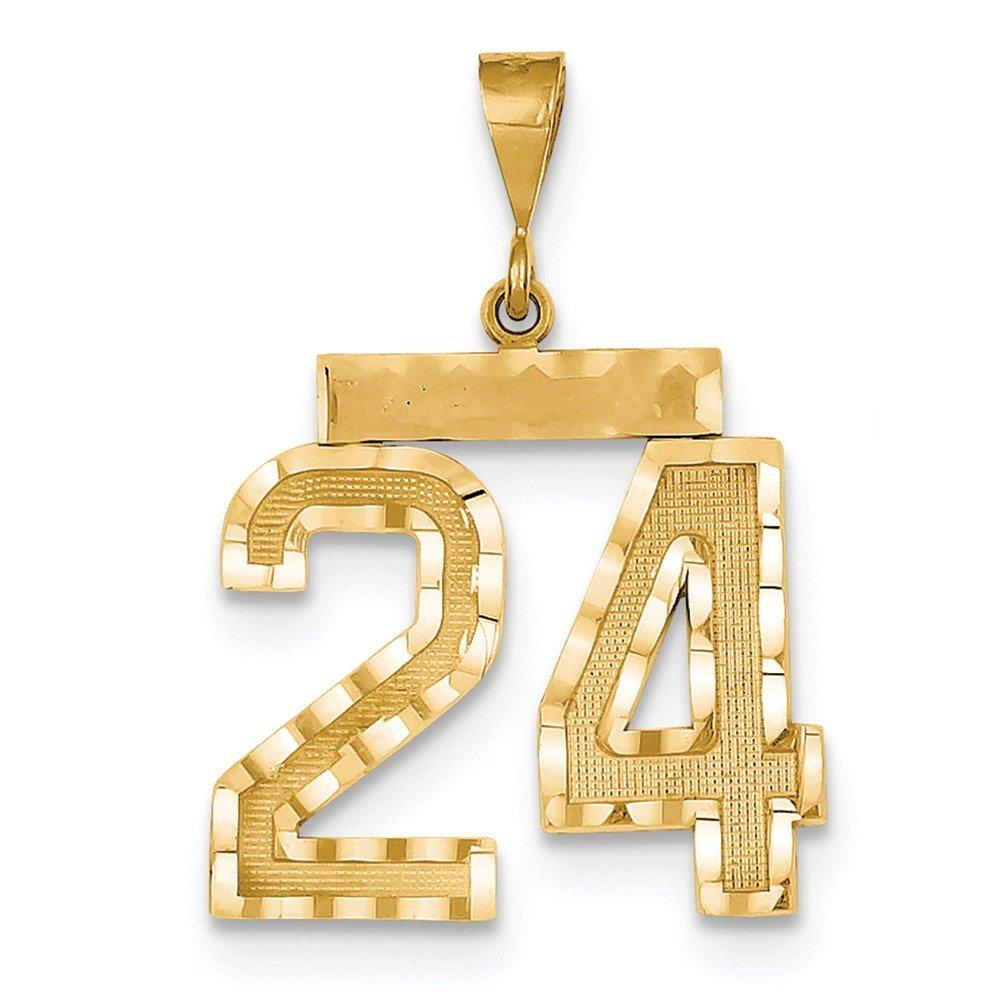 14k Large Diamond Cut Number 24 Charm