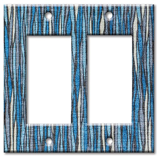 Art Plates brand - Double Gang Rocker Switch / Wall Plate - Blue River Blue Double Light Switchplate