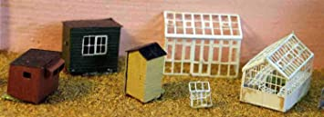 Langley Models invernaderos + cobertizos jardín escala N sin pintar Metal modelo Kit A49