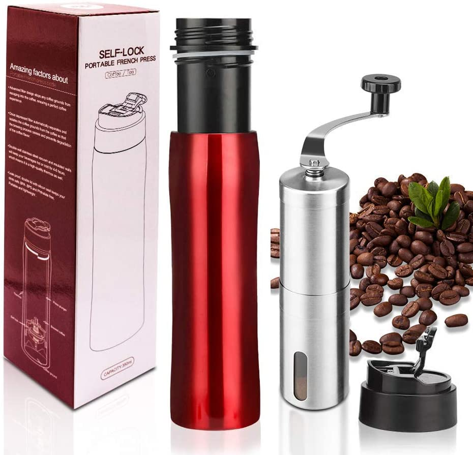 i Cafilas The Original Portable French Press Coffee Maker Premium Stainless Steel Vacuum Insulated Travel Mug Hot Cold Brew 12 oz Coffee Presses with Coffee Grinders