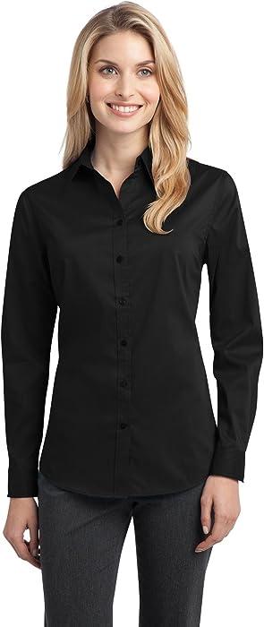 Port Authority Women s Stretch Poplin Shirt 4XL Black at Amazon ... 88c0a42d2b2