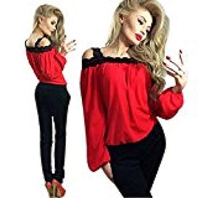 8a6e900a1f Familizo Women Sexy Off Shoulder Long Sleeve Shirt Lace Chiffon Blouse  Loose Top T Shirt  Amazon.co.uk  Clothing