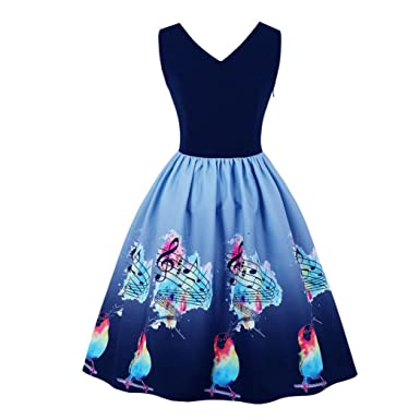 DongDong Dress Vintage Printing Women Sleeveless Casual Bodycon Evening Party Prom Swing Dress