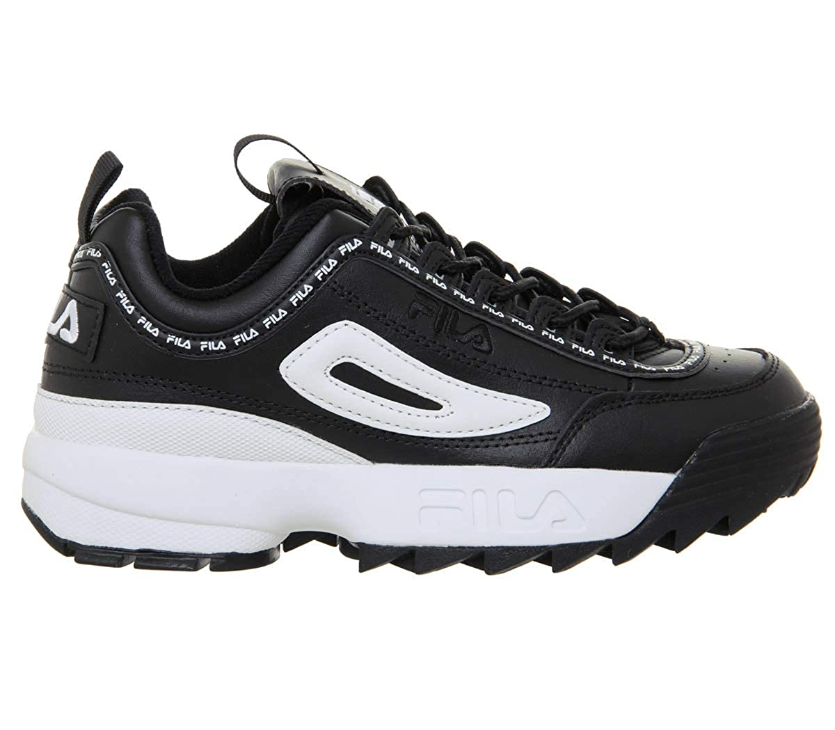Amazon.com | Fila Disruptor II Premium Repeat Black Womens Sneakers | Fashion Sneakers