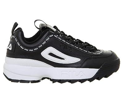 8cca8455d95 Fila Disruptor II Premium Repeat Black Womens Sneakers-UK 3