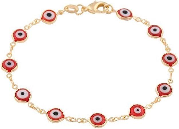 925 Sterling Silver RED Evil Eye Necklace 20 long for good luck   Cadena de Rojo Ojo 925 Plata para Buena Suerte 20 largo
