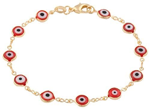 lo último 1f163 aacc5 Amazon.com: LUXURYGOLD 18K GOLD PLATED RED EVIL EYE BRACELET ...