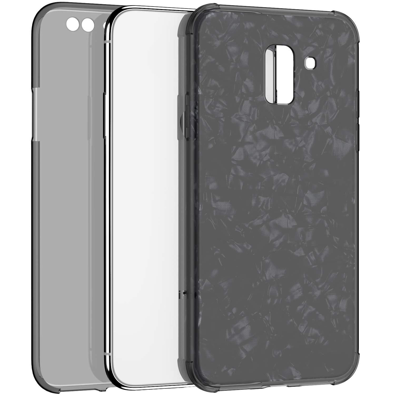 JAWSEU Compatible avec Samsung Galaxy A5//A8 2018 Coque Transparent Silicone TPU Ultra Mince 360 Degr/és Protection Compl/ète Brillant Bling Glitter Paillette Shell Cristal Clair Flexible Gel Housse