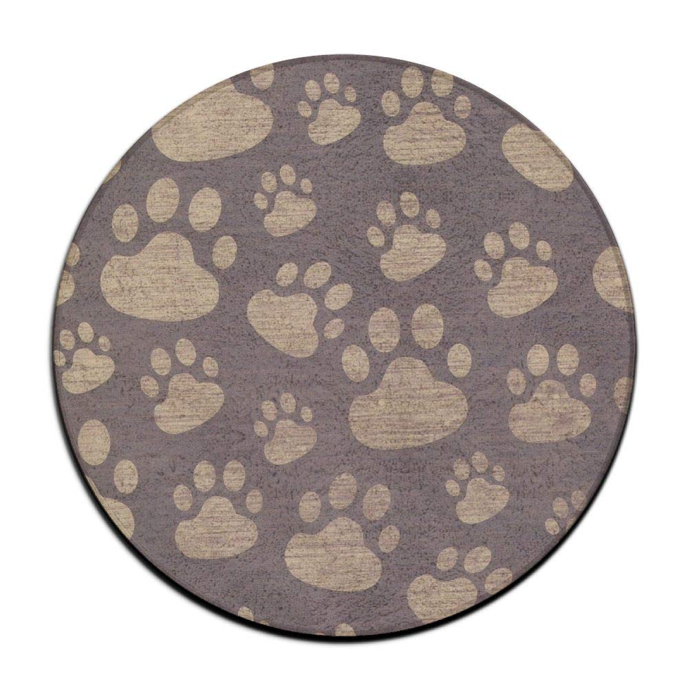 HYTRG Animal Paws Round Seat Cushion Non Skid Machine Washable Round Chair Cushion Pad Stool Slipcover Mat Rug 16 Inch