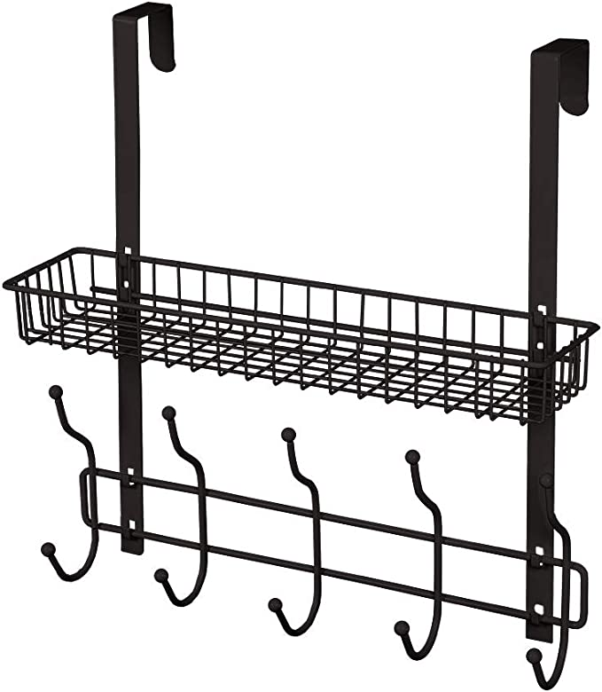 Over The Door Hook with 2 Baskets 5-Hook Coat Rack Bathroom Door Organizer for Bedroom Pantry Laundry Kitchen Dark Brown