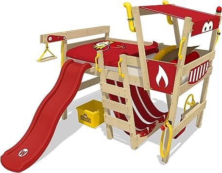 WICKEY Cama para jugar con tobogán CrAzY Smoky Cama infantil 90x200 Cama alta niños con somier y un completo kit de accesorios, coche de bomberos, ...