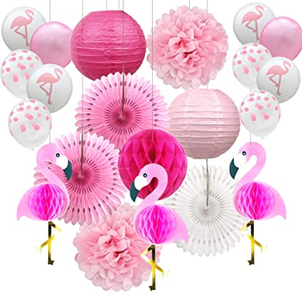 Amazon.com: YZNlife Flamingo decoración de fiesta, pompones ...