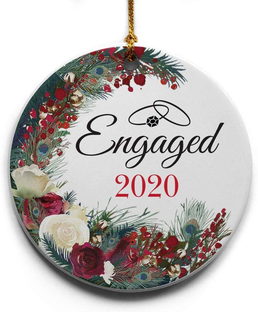 Amazon.com: Engaged Wreath Ceramic Christmas Tree Ornament