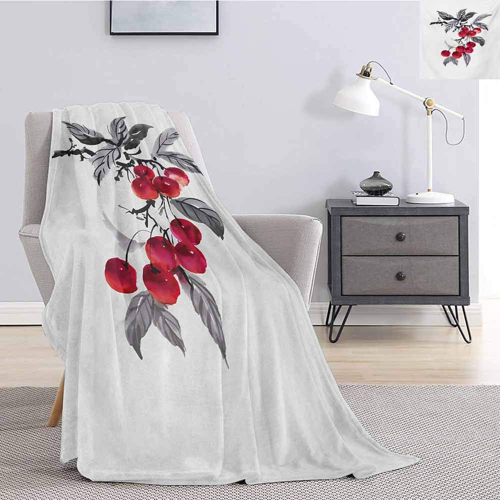 Aishare Store Christmas Throws Blankets,Branch of Rowan with Fruit in Watercolor Mountain Wild Nature Foliage Artwork Throw Blankets for Women W51 x L60 Inch,Grey Red Black