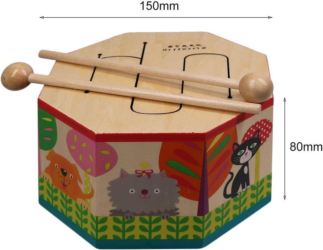 Formulaone Orff World Cartoon Tambour en Bois /à la Main battant Instrument Montessori avec Trois Tons Cadeau pour b/éb/é Enfant Enfant d/ébutant SYG S