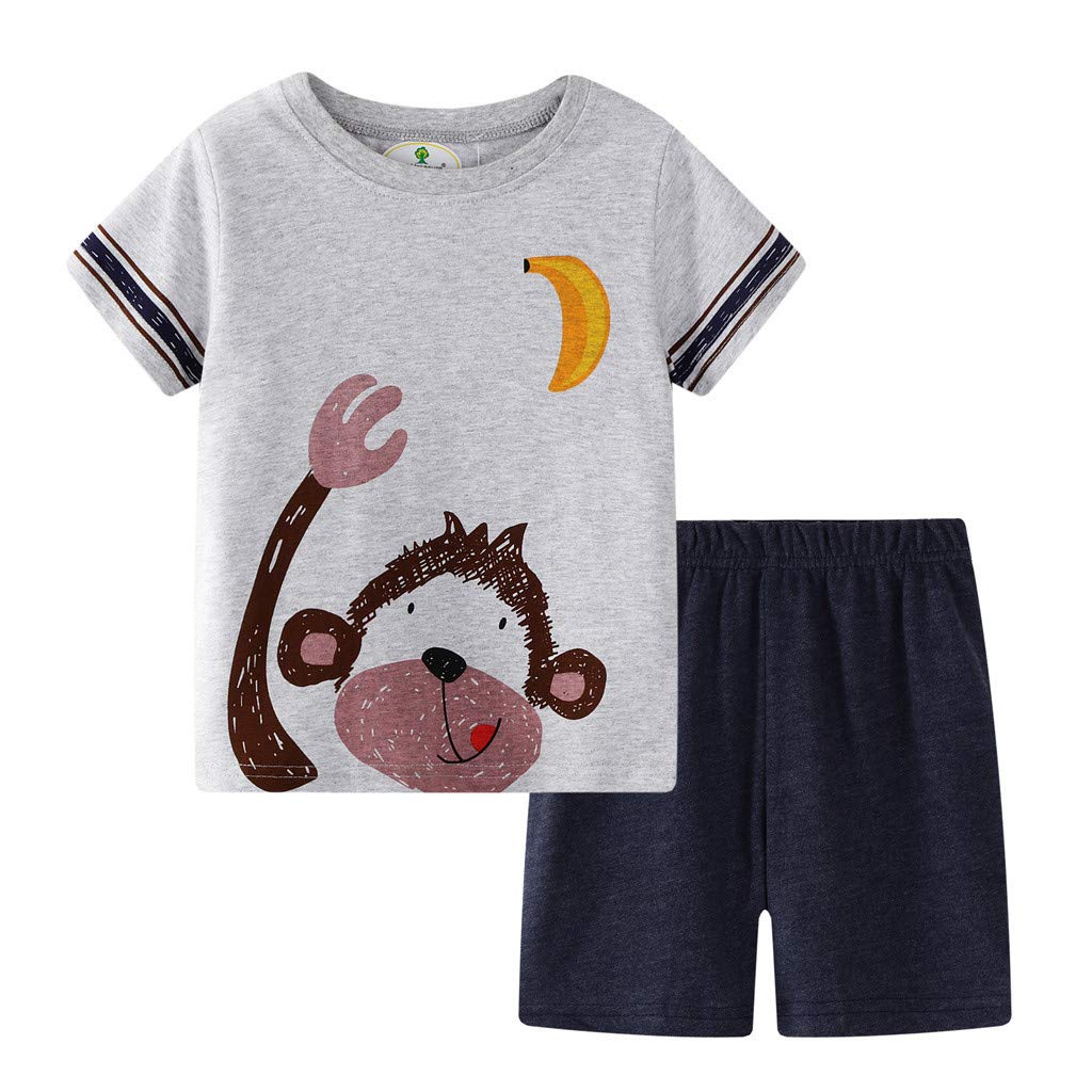 ❤️ Mealeaf ❤️ Toddler Kids Baby Boys Girls Pajamas Cartoon Tops T-Shirt Shorts 2PC Outfits Set(Gray,2T)