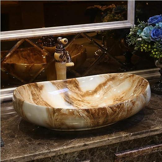 dwthh Lavabo de encimera Hecho a Mano de Estilo Europeo Lavabo de baño Lavabo de cerámica Lavabo de Porcelana para jardín Exterior Forma Ovalada: Amazon.es: Hogar
