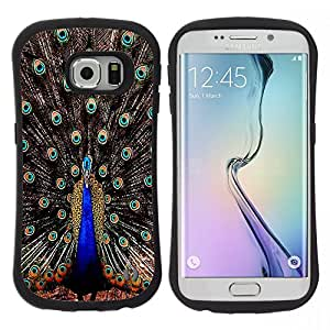 Pulsar iFace Series Tpu silicona Carcasa Funda Case para Samsung Galaxy S6 EDGE / SM-G925(NOT FOR S6!!!) , Plumas del pavo real iridiscente Blue Bird""