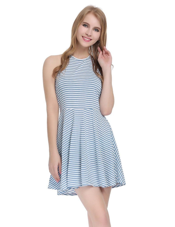 JXStar Damen Neckholder im unteren Rücken ärmellos Gestreift Beiläufig Kleid