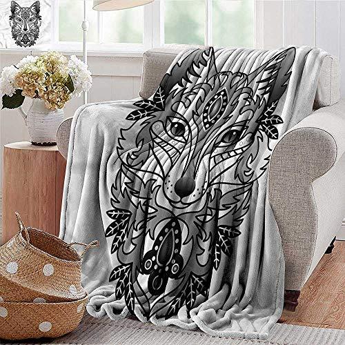 (Xaviera Doherty Soft Cozy Throw Blanket Fox,Ornamental Fox Face Curves Super Soft and Warm,Durable Throw Blanket)
