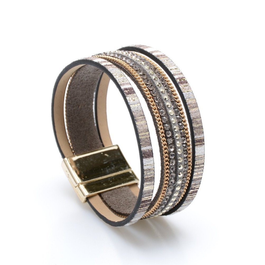 Mrsrui Ethnic Tribal Multi-layer Leather Wrap Bracelets Birthday Gift Magnetic Clasp (B)