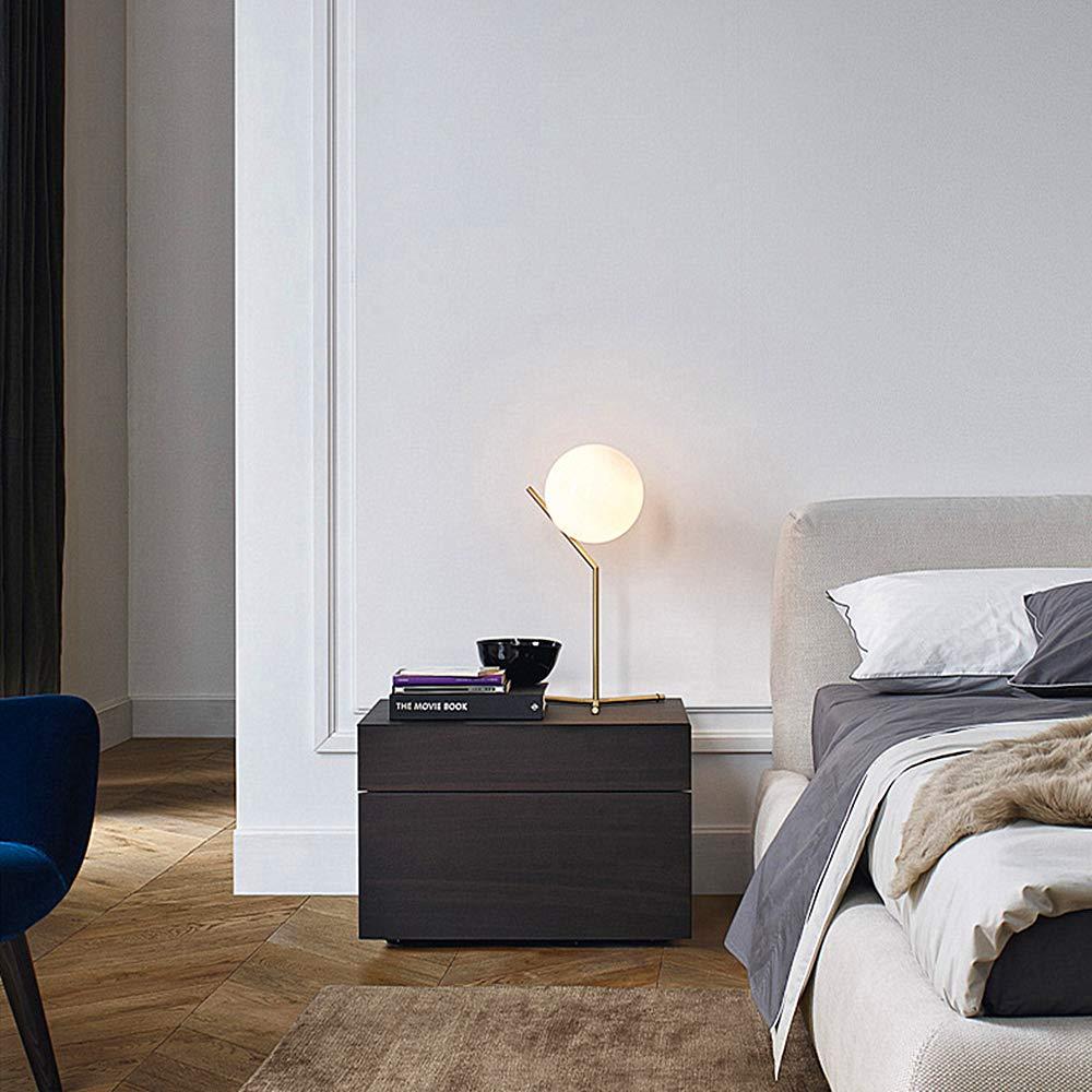 Minimalista E27 L/ámpara decorativa de noche Pantalla de luna llena creativa y marco de metal de bronce ELINKUME L/ámpara de mesa de bola de cristal