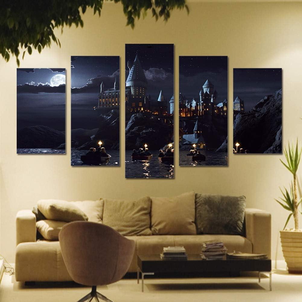 JSBVM Impresiones en Lienzo Harry Potter School Castle Hogwarts Imágenes 5 Paneles Pinturas Arte de la Pared para Sala de Estar Casa Oficina Decoraciones,B,30×50×2+30×70×2+30×80×1