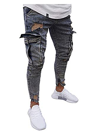 26ed1bde695 Mens Stretchy Ripped Jeans Skinny Biker Jeans Destroyed Taped Slim Denim  Pant at Amazon Men s Clothing store
