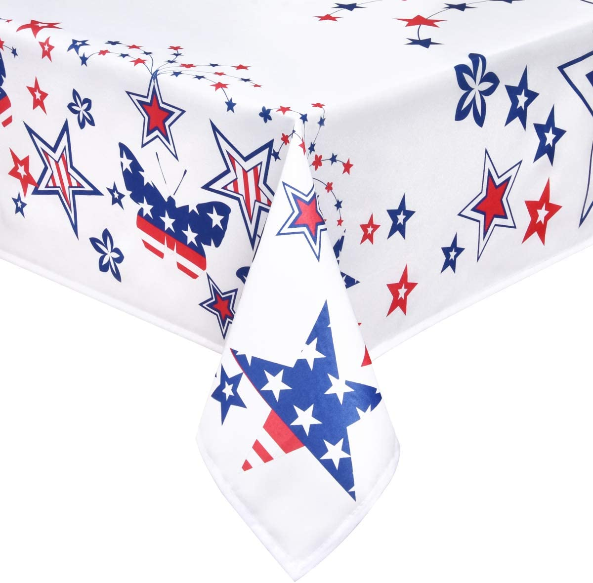 ASPMIZ Fourth of July Tablecloth, Stars Patriotic Table Cloth, 4th of July Decoration, Polyester Tablecloth, Red and Blue Stars Tablecloth for Fourth of July Decor, 55 x 55 inch