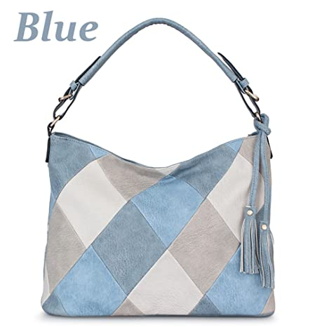 Chic-Dona Bags For Women Patchwork Handbags Women Bags PU Leather Shoulder Bags Female Blue