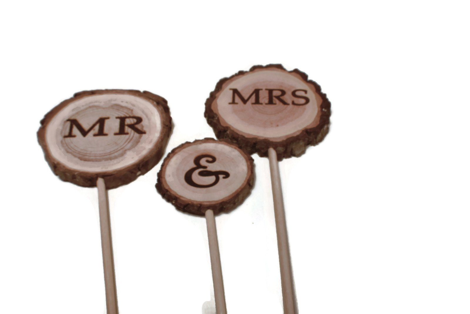 Mr & Mrs Rustic Wedding Cake topper 3 piece set, wood slice cake topper by OzarkCraftWood (Image #2)
