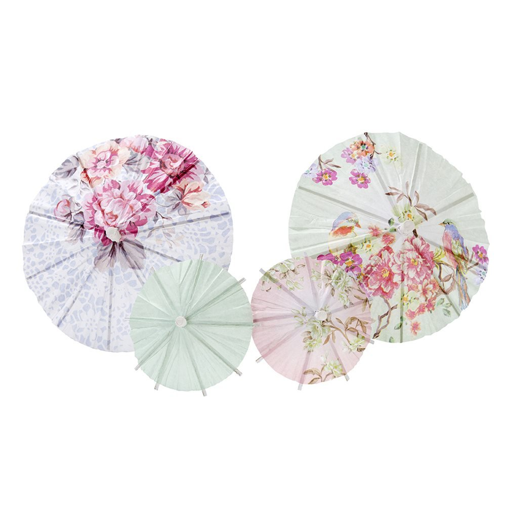 Talking Tables Truly Romantic Floral Drinks Parasols 2 Sizes in 4 Designs for a Birthday or Tea Party (24 Pack), Multicolor(TSROM-Parasol)