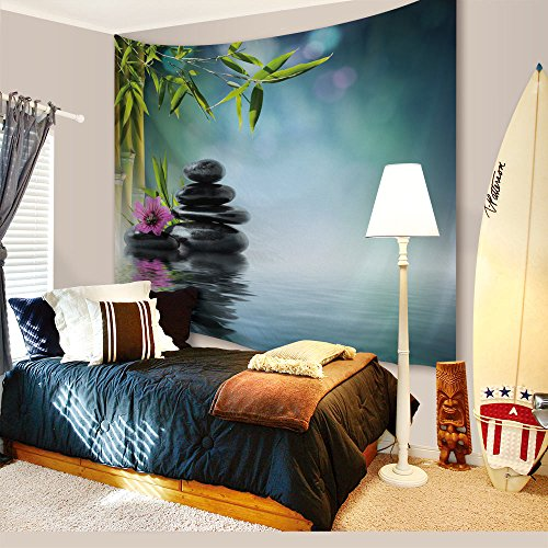 IMEI Green Bamboo Tapestry Wall Hanging by, Meditation Natural Scenery Wall Art, Yoga Blanket, Bed Throw, Sofa Cover Bedroom Dorm (Bamboo Black Rock Stones In Water Lake, 51 X 60 Inch) -
