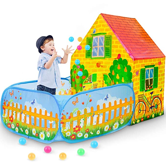 "SkyNature Garden House Play Tents, Pretend Play Game Tents with Ball Pit, Pop Up & Collapsible Kids Play Tents for 3-12 Years Old - Girls, Boys, Toddlers & Babies - 43"" H x 59"" L x 35"" W"