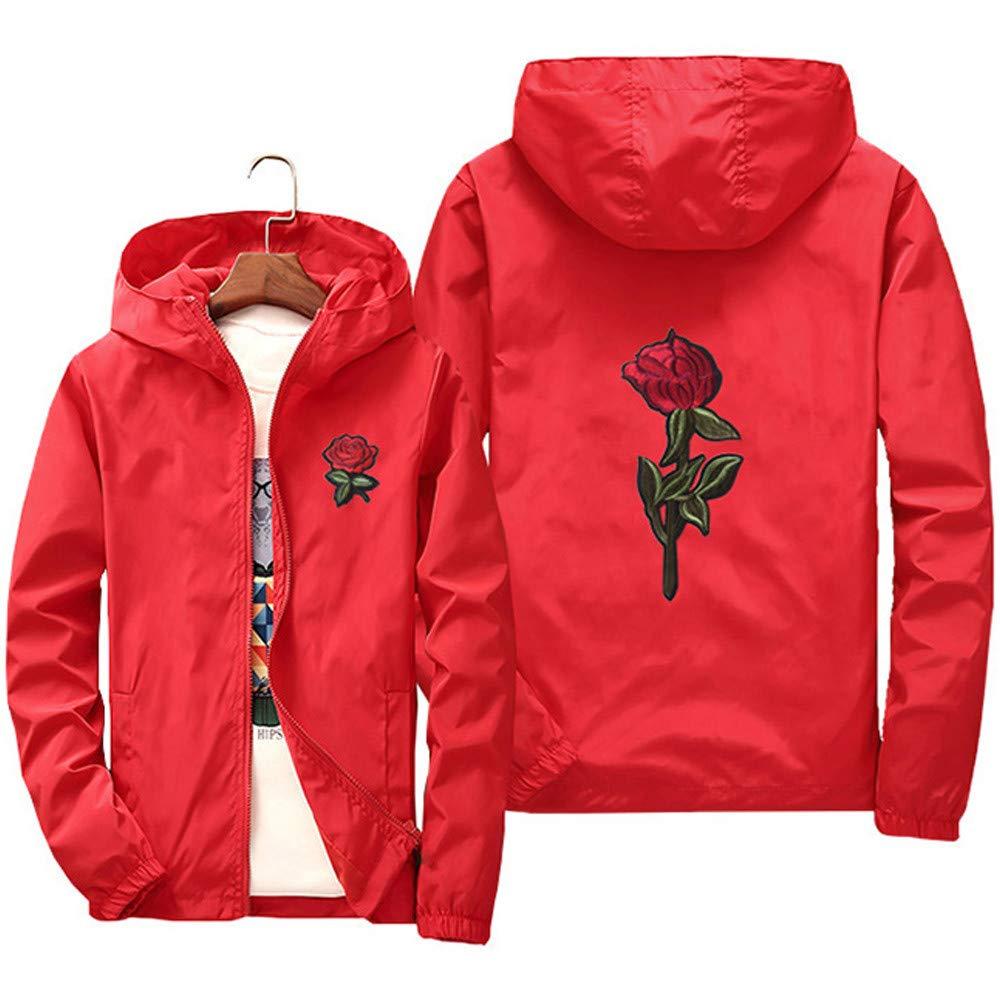 Men Women Hoodie Sweatshirt Light Jacket Casual Sports Zipper Solid Color Rose Print Jacket Couple Wear Hoodies
