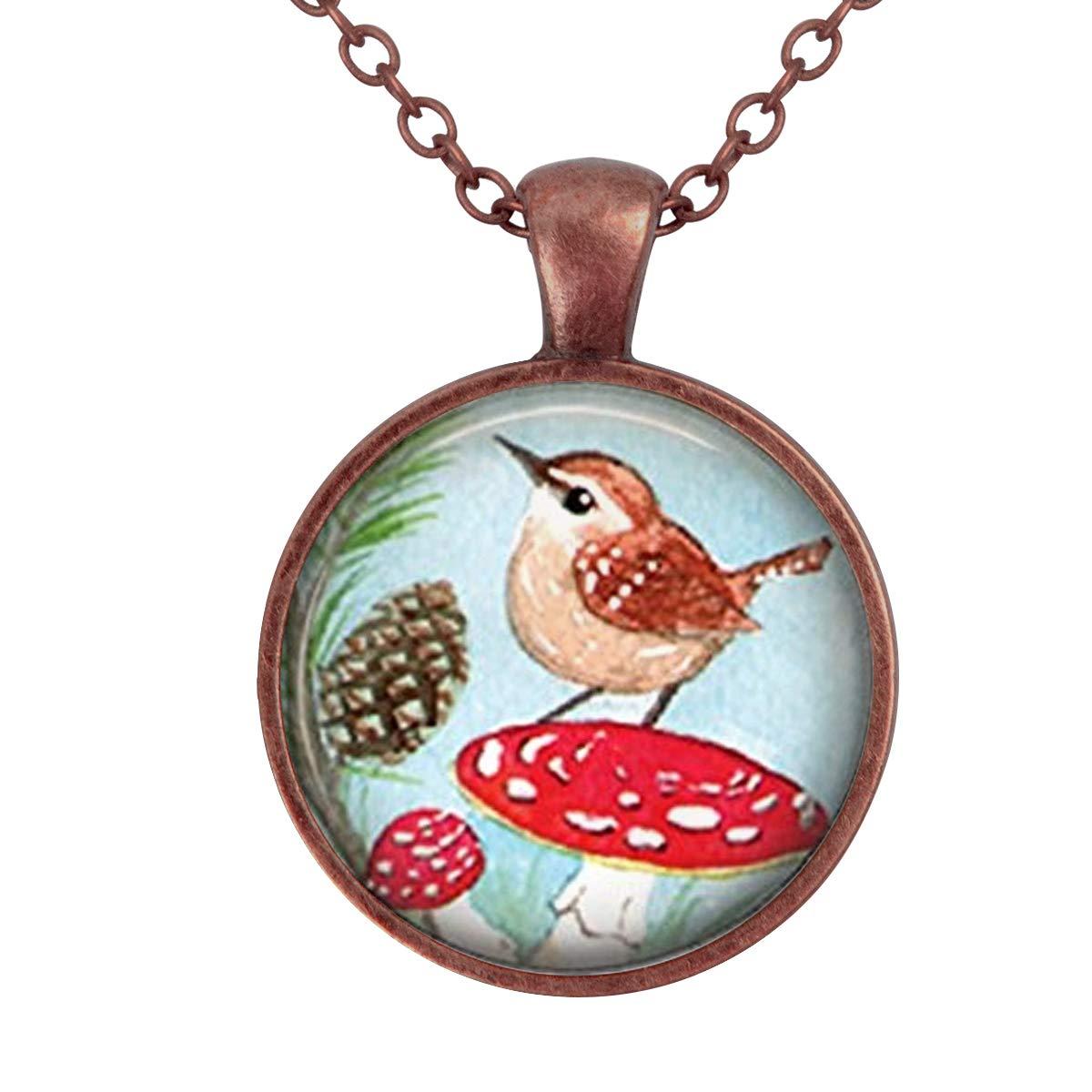 Lightrain Bird on Mushroom Art Pendant Necklace Vintage Bronze Chain Statement Necklace Handmade Jewelry Gifts