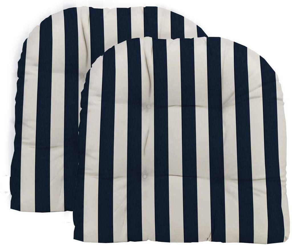 RSH D cor Decorative Indoor Outdoor Large Tufted Wicker U-Shape Chair Cushion Choose Size Fabric Color Great for Porch, Patio, Deck Home D cor Made with Navy White Cabana Stripe