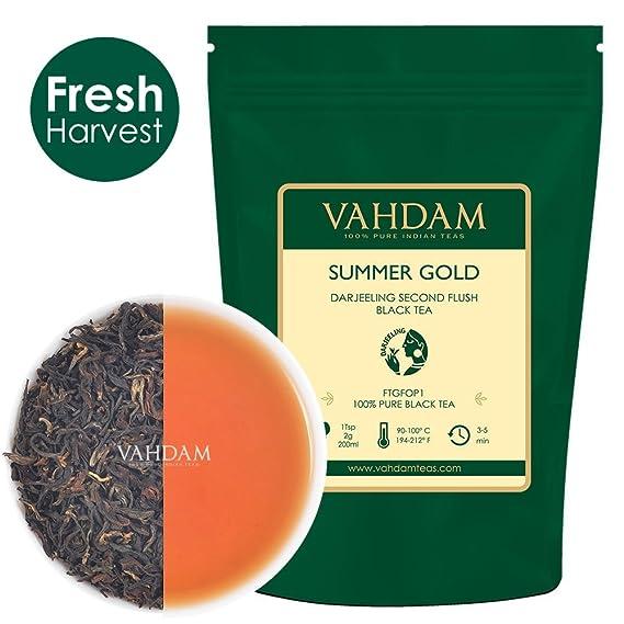 VAHDAM, Oro verano Darjeeling Segundo rubor (50 Copas) | TÉ DARJEELING FUERTE Y ROBUSTO Hoja suelta | Hojas sueltas de té negro 100% puro no reforzado ...
