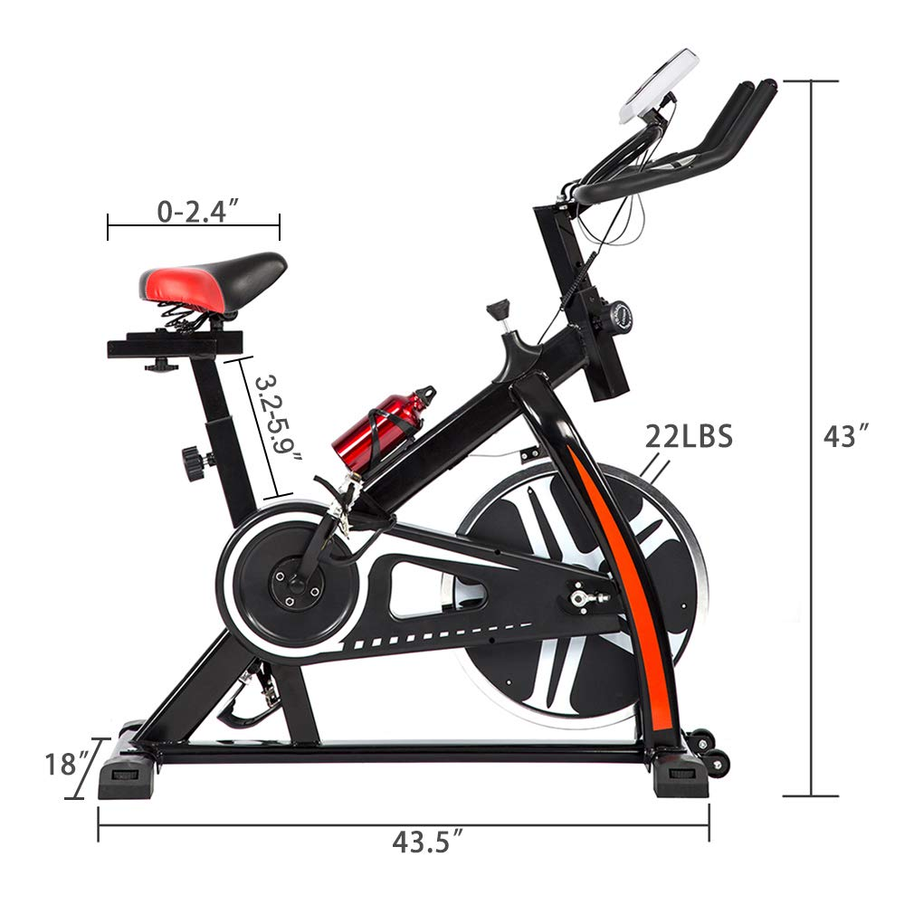 BestMassage Cycling Bike Exercise Bike Pro Indoor Cycling Spin Bike Trainer Bicycle Cardio Fitness Heart Pulse W/LED Display Stationary Indoor Pro Indoor Training Equipment by BestMassage (Image #6)