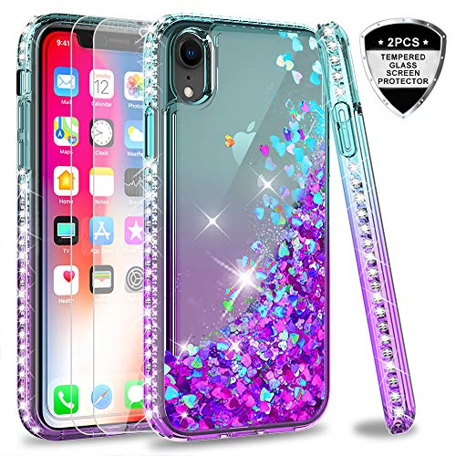 (iPhone XR Case with Tempered Glass Screen Protector [2 Pack] for Girls Women, LeYi Glitter Bling Silicone Liquid Slim Cute Clear Protective Phone Cover Cases for Apple iPhone 10 XR)