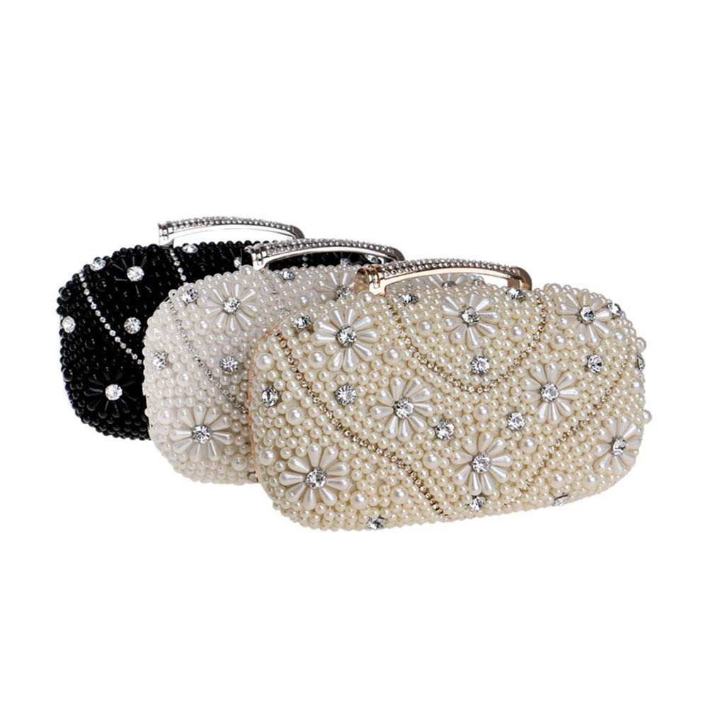 Color : Gold Techecho Bridal Clutch Purse Womens Flower Evening Clutch Bags Pearl Beaded Evening Handbag for Prom Bride Cocktail Wedding Frosted Handbag Party