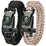"A2S Paracord Bracelet K2-Peak – Survival Gear Kit with Embedded Compass, Fire Starter, Emergency Knife & Whistle – Pack of 2 - Quick Release Slim Buckle Design (Black / Sand Camo 8.5"")"