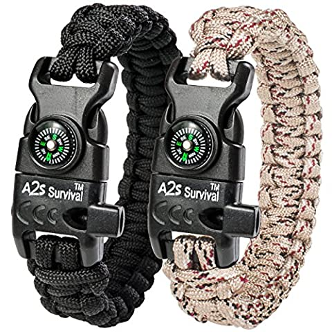 A2S Paracord Bracelet K2-Peak – Survival Gear Kit with Embedded Compass, Fire Starter, Emergency Knife & Whistle – Pack of 2 - Quick Release Slim Buckle Design (Black / Sand Camo - Outdoor Gear