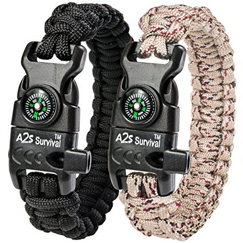 A2S Protection Paracord Bracelet K2-Peak – Survival Gear Kit with Embedded Compass, Fire Starter, Emergency Knife & Whistle (Black/Sand Camo 8