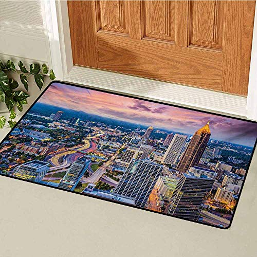 GUUVOR Modern Welcome Door mat Atlanta City Skyline at Sunset with Hazy Syk Georgia Town American View Door mat is odorless and Durable W47.2 x L60 Inch Baby Pink Blue Silver